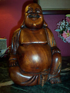 Asian Hand Carved Smiling Wooden Buddha 5 5lbs And 12 Tall 8 Wide Excellent