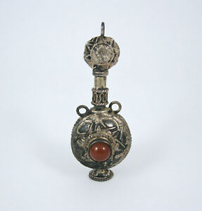 Antique Sterling Silver Carnelian Chatelaine Perfume Snuff Bottle