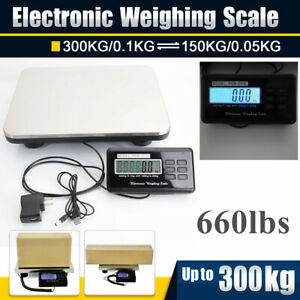 660lbs Electric Digital Floor Bench Scale Postal Stainless Platform Shipping
