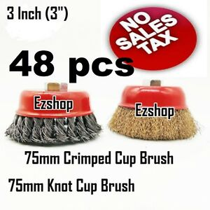 48 Wire Cup Brush Wheel 3 75mm For 4 1 2 115mm Angle Grinder Twist Crimped