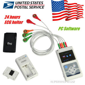 Usa Portable Ecg Holter 3 Leads 24 Hour Recorder Dynamic Ecg Systems pc Software