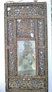 Vintage 1800s Old Wooden Framed Fine Carving Wall Hanging Dressing Mirror India