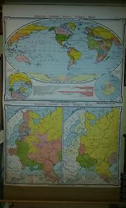 Vintage Pull Down School Map Growth Of Russia World 1918 37 W Polar Regions