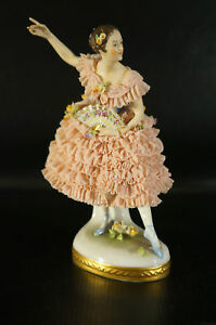 Antique Dresden Volkstedt Porcelain Figurine Woman Dencing With Fan On Hand