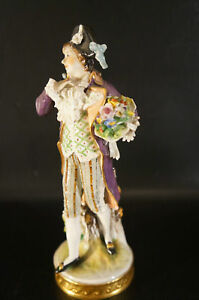 Antique Dresden Volkstedt Porcelain Figurine Man With Flower On Hand