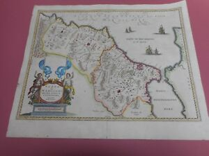 100 Original Large Marocco Gibraltar Map By Ortelius Jansson C1635 Hand Colour
