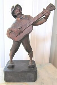 Vintage 7 5 Hand Carved Painted Black Forest Wooden Man Playing Guitar Figurine