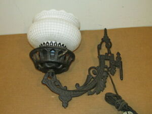 Antique Electrified Cast Iron Wall Lamp W Square Hobnail Shade Vfc