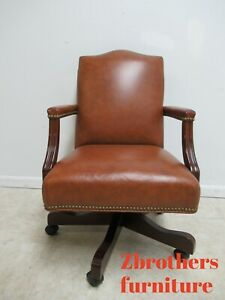 Ethan Allen Leather Hobb Nail Executive Office Desk Chair