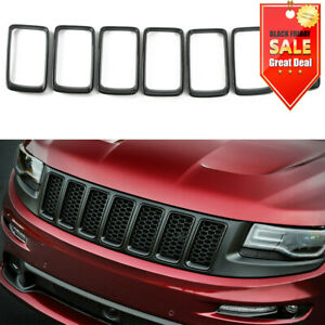 Fit Jeep Grand Cherokee 14 16 7pcs Front Grille Trim Ring Insert Black Accessory
