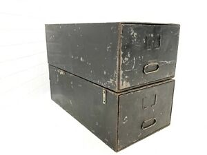 Vtg Pair Steel Stacking File Cabinet Black Metal Card Catalogs Record Files Inc