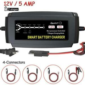 Automatic Battery Charger Maintainer Deep Cycle Trickle Lead Acid Battery 12v 5a