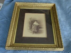 Large Antique Victorian Aesthetic Gold Picture Frame Photo Of A Little Girl
