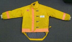 42x35 Firefighter Jacket Coat Bunker Turn Out Gear Yellow Morning Pride J490