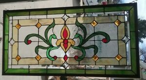 Stained Glass Transom Window Hanging 35 3 4 X 18 1 2 Polished Brass Frame