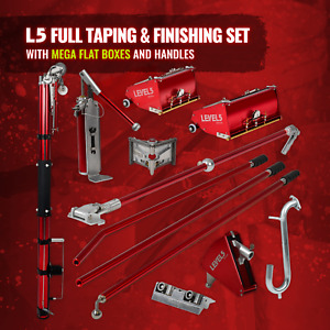 Drywall Taping And Finishing Set Mega Flat Boxes Automatic Taper Level 5 Tools