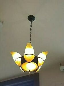 Vintage 6 Light Art Deco Chandelier Slip Shade Light Fixture Awesome