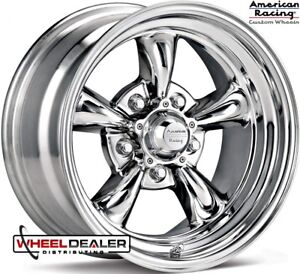 American Racing Vn615 Torque Thrust 15x7 15x8 Chrome Wheels Rims 1955 Bel Air
