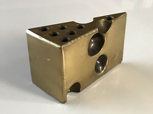 Brass Swiss Cheese Metal Sculpture Pen Pencil Holder Desk Accessory Vtg Decor
