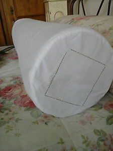 Antique French Metis Linen Day Bed Bolster Sham Case 43 Beautiful Drawn Thread