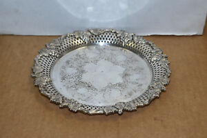 Antique Silver Plated Champagne Wine Bottle Coaster Tray 8