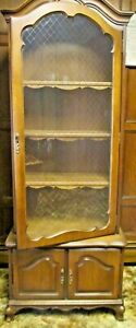 Vintage Curio Storage Cabinet Glass Doors With Gold Tracery Wood