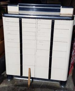 Vintage Large Metal Wood 18 Drawer Dental Doctor Cabinet American Cabinet Co