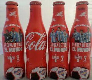 SET OF 4 COCA COLA ALU FULL BOTTLES  FIFA WORLD CUP BRAZIL 2014 FROM ARGENTINA