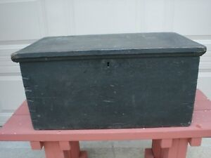 Early 1860 S Miniature Antique Blanket Chest W Candle Box W Dove Tail Corners