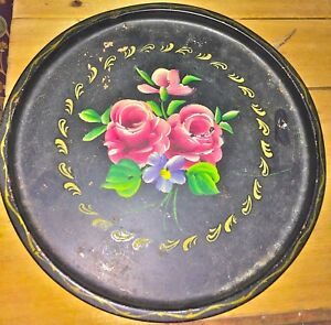 Antique Black Tole Ware Hand Painted Tray Flowers Platter Toleware