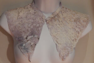 Silk Lace Point De Paris Bertha Collar Shawl Beads Antique Vintage Hand Mesh