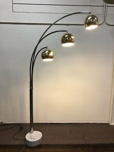 Mid Century Italian Modern Arc Three Ball Floor Lamp Marble Base Chrome
