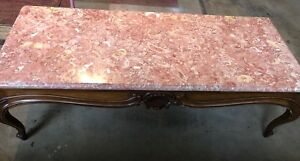 Weiman Vintage French Provincial Rose Marble Top Coffee Table Antique
