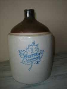 Western Stoneware Co Monmouth Ill 1 Gallon Crock Jug Brown Top Euc