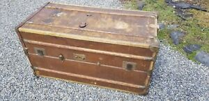 Vintage Schutz Marke Madler Koffer Wardrobe Trunk Travel Chest Round Top