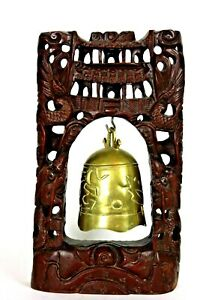 Antique Chinese Thai Buddhist Brass Temple Prayer Bell Gong Dragon Hardwood