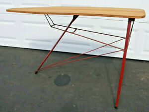 Antique Wood Ironing Board With Metal Red Legs Primitive