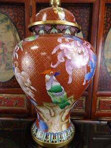 Large Vintage Chinese Cloisonne Temple Jar 20 High