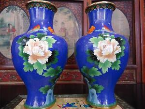 Large Pair O Chinese Cloisonne Bright Blue Vases 17 H 1990s