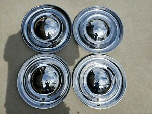 1949 50 Rare Vintage Gm Chevy Full Dish Hubcaps