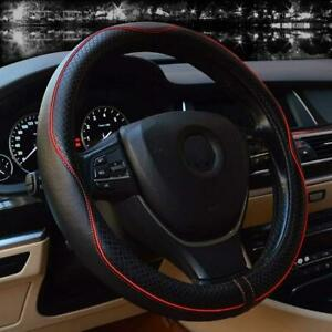 Universal Steering Wheel Covers 15 Inch Genuine Leather Black With Red Lines