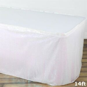 14 Ft White Sequin Table Skirt Wedding Party Catering Trade Show Banquet