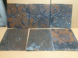 6pc Lot Of 11 By 10 Antique Ceiling Tin Vintage Reclaimed Salvage Art Craft