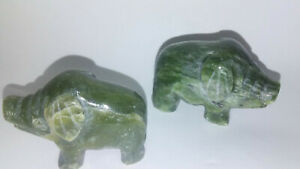 Hand Craved Jade Pig Figurine Green Asian Statues China Gift Boxed