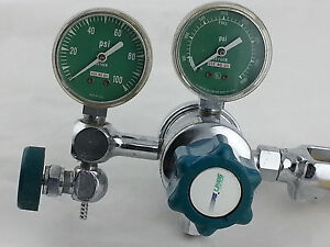 Lab grade Linde Dual Gauge Gas Regulator W shut off Valve Model Sg 3660 870