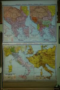 Vintage Pull Down School Map Denoyer Geppert Modern Italy The Balkans