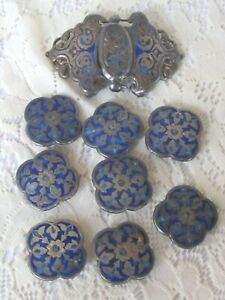 Estate Antique Edwardian Victorian Silver Blue Enamel Button Buckle Set H2