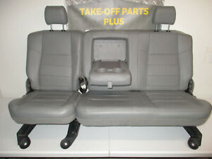 1999 2010 Ford F250 F350 F450 Gray Leather Rear Seat 60 40 Crew Cab Nice