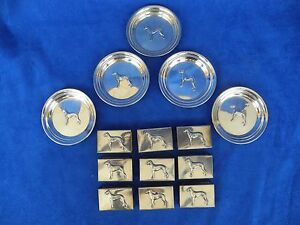 Antique Sterling Silver George A Henckel 5 Dish 9 Match Cover Case Greyhound