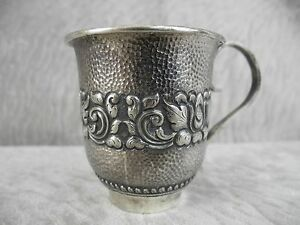 Antique S 800 Hammered Silver Cup